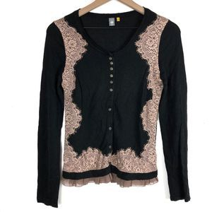Anthro Knitted & Knotted Black Lace Trim Cardigan